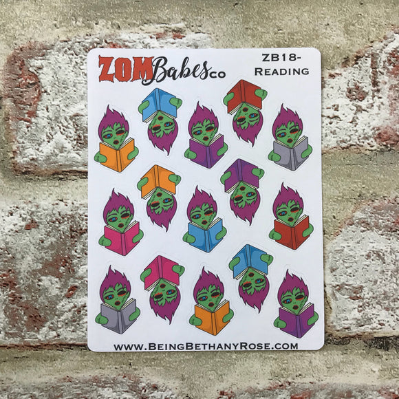 Reading / Book Zombabe sticker for planners (ZB18)