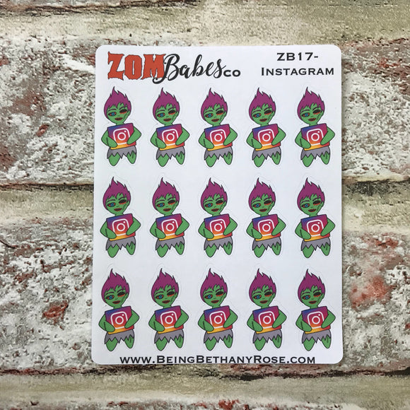 Social Media (Instagram, IG) Zombabe sticker for planners (ZB17)