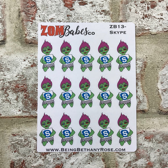 Social Media (Skype) Zombabe sticker for planners (ZB13)