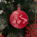 Christmas Bauble personalised with your childs drawing (5 colours available) (Laminate)