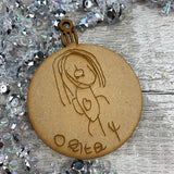 Christmas Bauble personalised with your childs drawing (MDF)