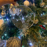 Christmas Bauble personalised with your childs drawing (42 colours available) (Acrylic)