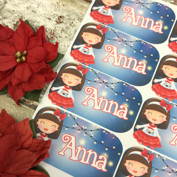 Personalised kids / adults Christmas Present Labels. (16 Brunette Girl)