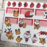 Christmas - Santa and Rudolph stickers for Erin Condren Vertical (DPD1075)