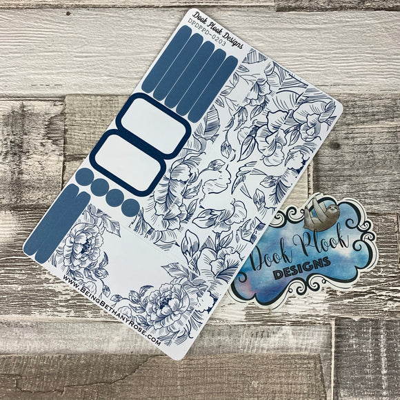 (0203) Passion Planner Daily stickers - Blue Flower