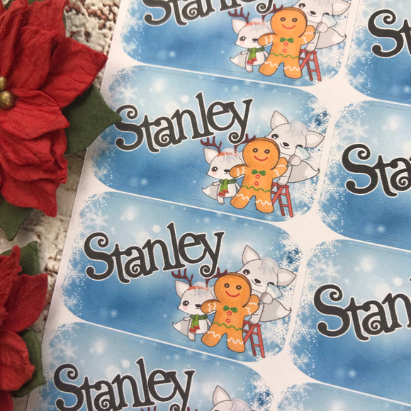 Personalised kids / adults Christmas Present Labels. (51 Gingerbread and Wolves)