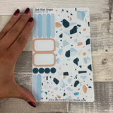 (0158) Passion Planner Daily stickers - Terrazzo Blue