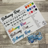 Personalised name stickers for planners (Matte, Gloss or Foil, 28 different colours) 0005-Brush