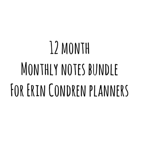 Erin Condren Monthly Notes Kit Bundle (12 month)