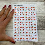 Small santa hat stickers for Erin Condren, Plum Paper, Filofax, Kikki K (DPD1095)