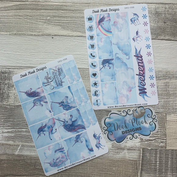Watercolour unicorn stickers for Erin Condren Horizontal (DPD998)
