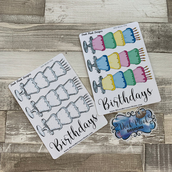 Bullet Journal Style Birthday Cake tracker sticker (Bujo007)