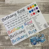 Personalised name stickers for planners (Matte or Gloss, 28 different colours) 0006-Humpty