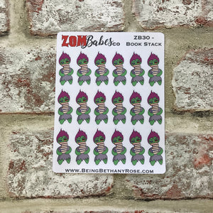 Book stack / Reading / Study Zombabe stickers (ZB30)