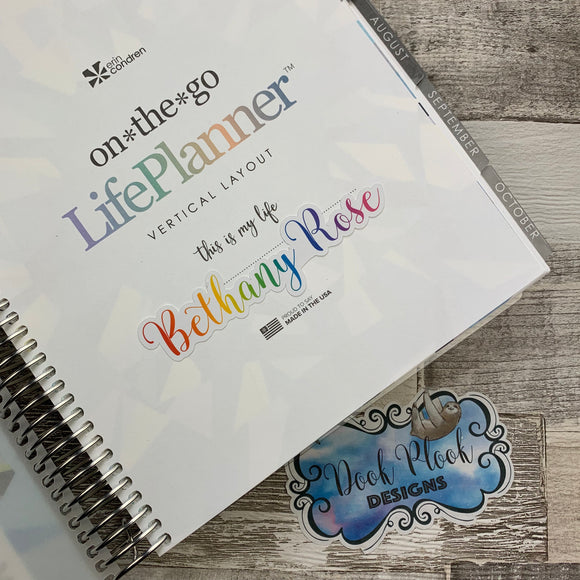 Personalised name stickers for planners (Matte, Gloss or Foil, 28 different colours) 0004-Alpha