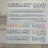 Personalised name stickers for planners (Matte, Gloss or Foil, 28 different colours) 0011-Standout