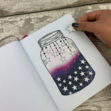 Galaxy filled Mason jar sticker with stars for bullet journals (BUJO-0019)