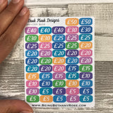 52 week £1000 (a grand) money challenge stickers - Small (DPD 1359)
