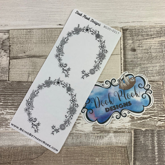 Bullet Journal Style floral border stickers (BUJO-0017)