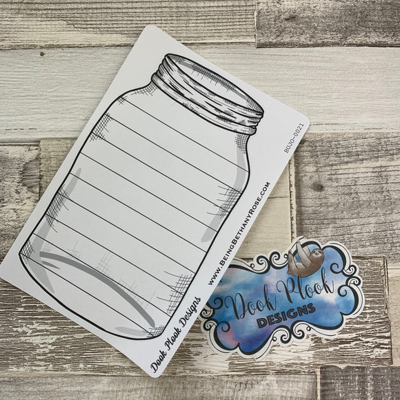 Mason jar sticker (straight lines) for bullet journals (BUJO-0021)