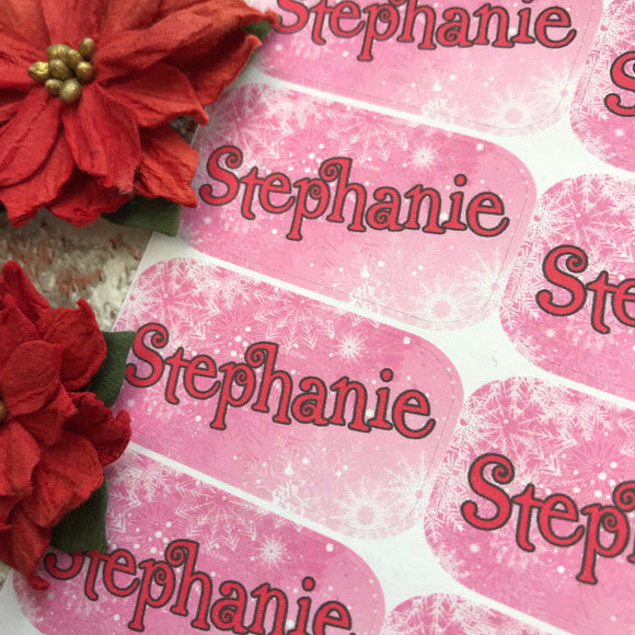Personalised kids / adults Christmas Present Labels. (4 Pink Snowflakes)