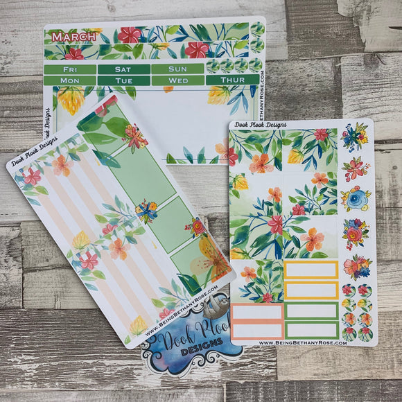 March (can change month) Spring Flowers Monthly View Kit for the Passion Planner