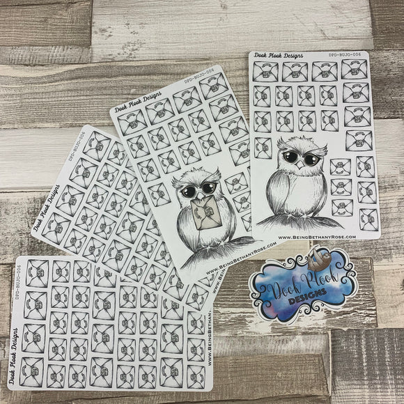 Owl and letters Bullet Journal Style Tracker a5 sticker (DPD006)