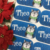 Personalised kids / adults Christmas Present Labels. (3 wolf)