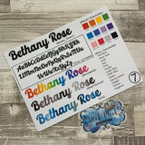 Personalised name stickers for planners (Matte, Gloss or Foil, 28 different colours) 0007-Rebel
