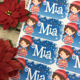Personalised kids / adults Christmas Present Labels. (17 Pigtail Girl)