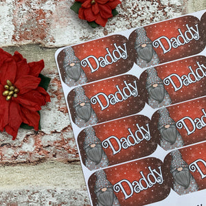 Personalised kids / adults Christmas Present Labels. (Gonk grey spots 61)