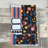 (0182) Passion Planner Daily stickers - Bold flowers on Black