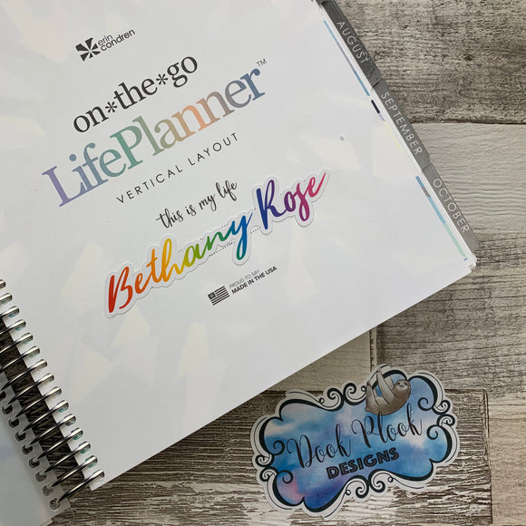 Personalised name stickers for planners (Matte or Gloss, 28 different colours) 0002-Wild