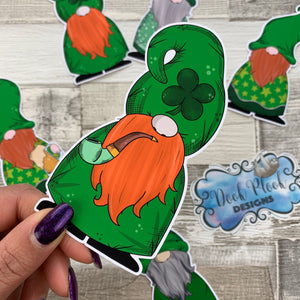 St Patricks Day Gonk Die cut (Gnorman with Pipe)