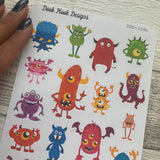 Monster stickers for Erin Condren, Plum Paper, Filofax, Kikki K (DPD109c)