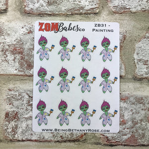 Painting / Decorating Zombabe character sticker for planners (ZB31)