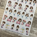 Mixed character White Woman Stickers (DPD1413)