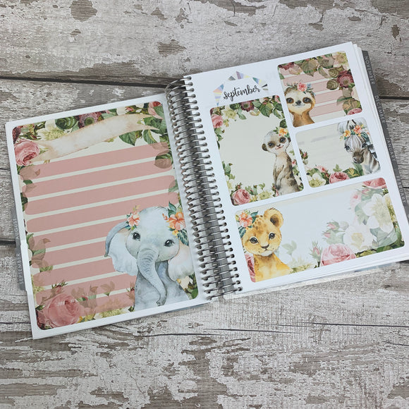 Erin Condren Month Dashboard Note Pages (Watercolour Animals)