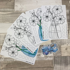 Bullet Journal Style Flower monthly tracker sticker (Bujo003)