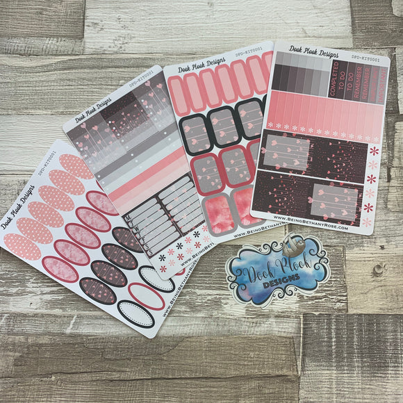 Grey and pink love heart ultimate sticker Kit (KIT0010)