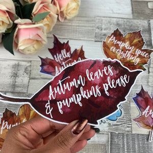 Autumn leaves and pumpkins please Die cut