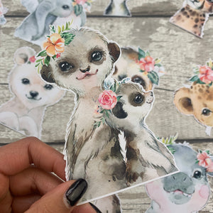 Meerkat Mummy and child Die cut