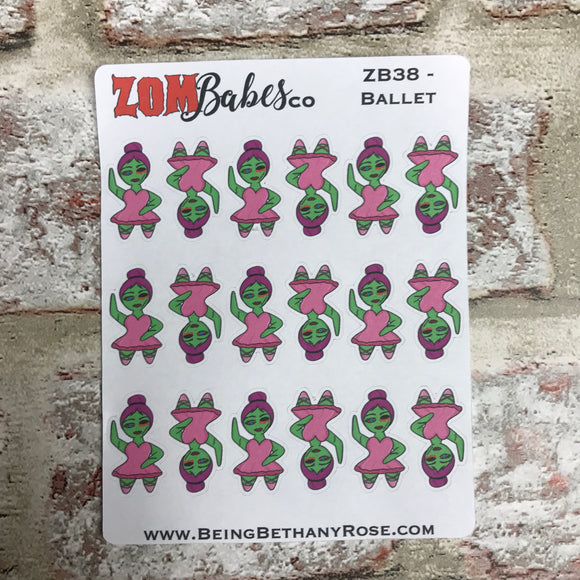 Ballet dancer Zombabe character sticker for planners (ZB38)