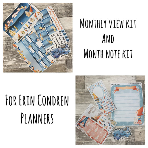 Yuletide (can change month) Monthly View Kit and Notes Kit for the Erin Condren Planners