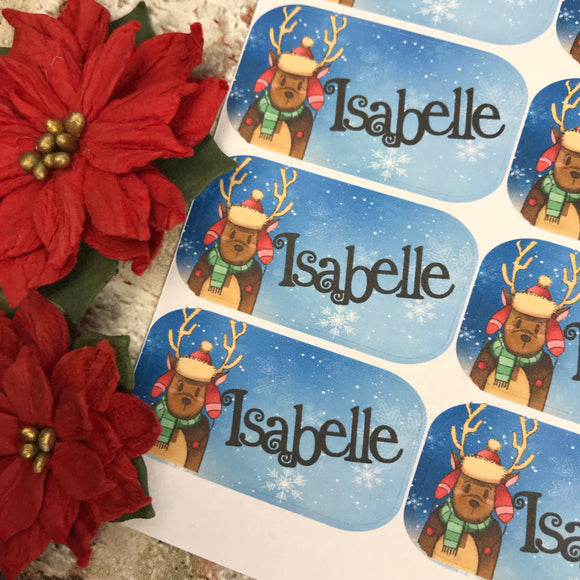 Personalised kids / adults Christmas Present Labels. (10 Reindeer)