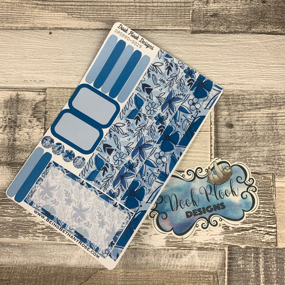 (0029) Passion Planner Daily stickers - Blue Foral