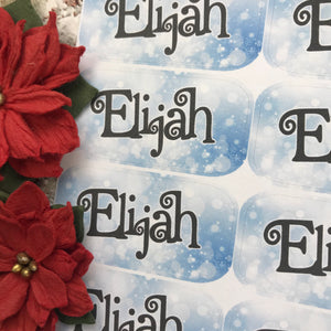Personalised kids / adults Christmas Present Labels. (45 Blue Sparkles)