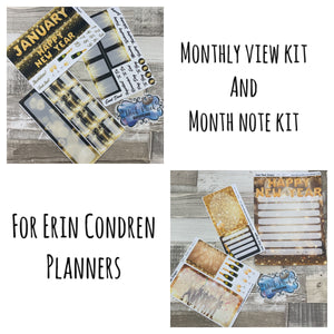 Happy new year Monthly View and Notes Page Kit for the Erin Condren Planners