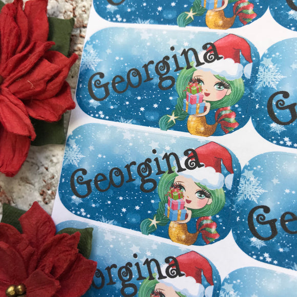 Personalised kids / adults Christmas Present Labels. (37 green mermaid)