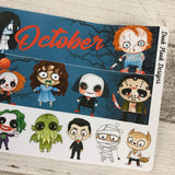 Horror (can change month) Monthly View Kit for the Erin Condren Planners